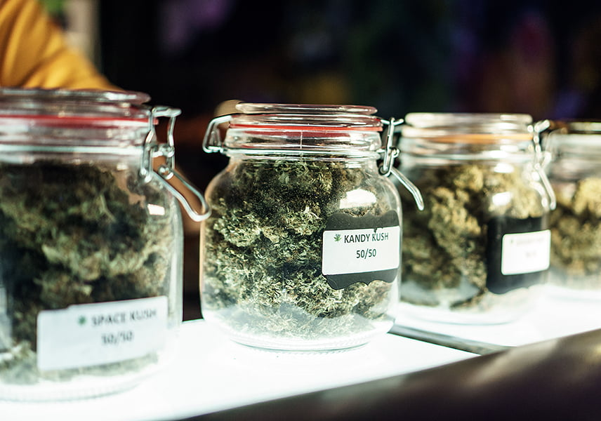 Jars of Cannabis on Shelf