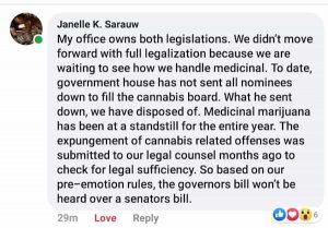Senator Sarauw Facebook Recreational Cannabis Statement